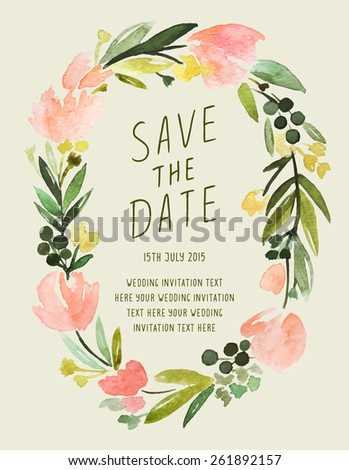 Save The Date Calligraphy Invitation With Floral Frame. Vector Watercolor Floral Wedding Invitation. - stock vector