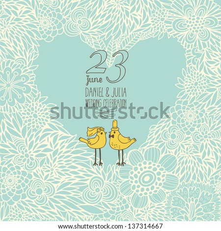 Save the date card in vector. Wedding invitation with cute heart made of flowers with cartoon birds. - stock vector