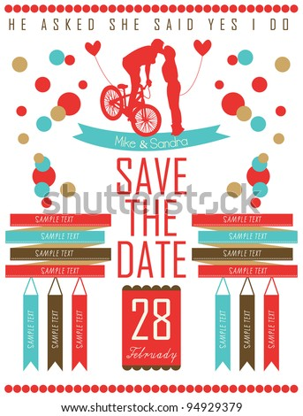 save the date card letterpress - stock vector