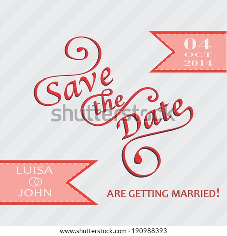 Save the date card retro desing - stock vector