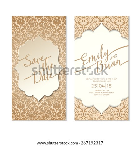 Save The Date Card Template. Wedding Invitation Card.  - stock vector