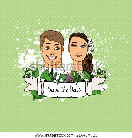 Save the Date card with Couple in love. Hand-drawn vector illustration. - stock vector
