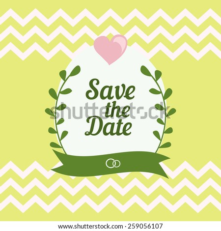 Save The Date card with floral elements - stock vector
