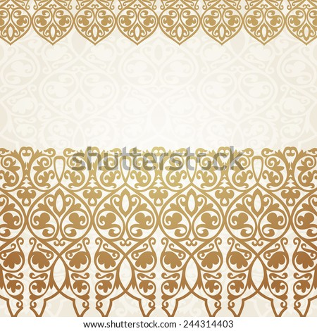 Save the date card with luxury gold border on seamless background. Wedding invitation.Vector illustration - stock vector