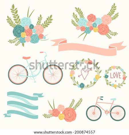 Save the date design collection with bike, basket, ribbons, hearts, wreath and butterfly. Hand drawn vintage flower bouquet set. Retro flowers in vector.  - stock vector