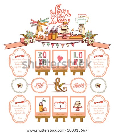 Save the date - Farm Sweet Style element - stock vector
