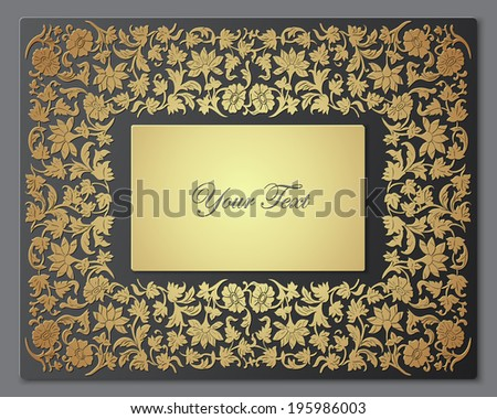 Save the date floral card. Vintage floral wedding invitation. Border frame with flowers.  Floral luxury ornamental pattern template for design. Vector illustration - stock vector