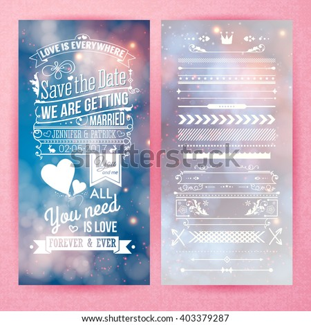 Save the date graphics with we are getting married, love is everywhere and all you need is love text beside borders and icons over pink background - stock vector
