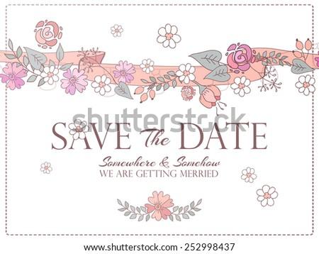 Save the date hand drawn cartoon wedding invitation. Vector illustration - stock vector