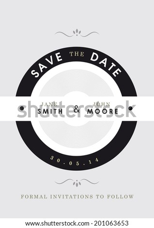 Save the date invitation black and grey theme - stock vector
