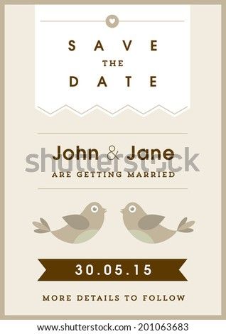 Save the date invitation gold love bird theme - stock vector