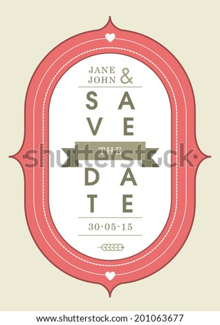 Save the date invitation red badge theme - stock vector