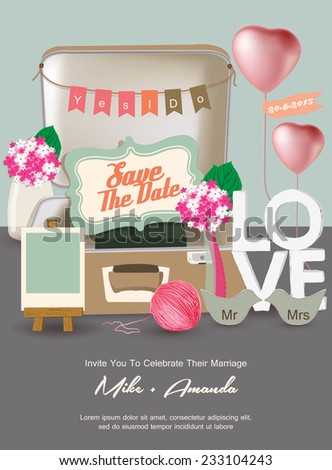 Save The Date / Just Married / Yes I do invitation - stock vector