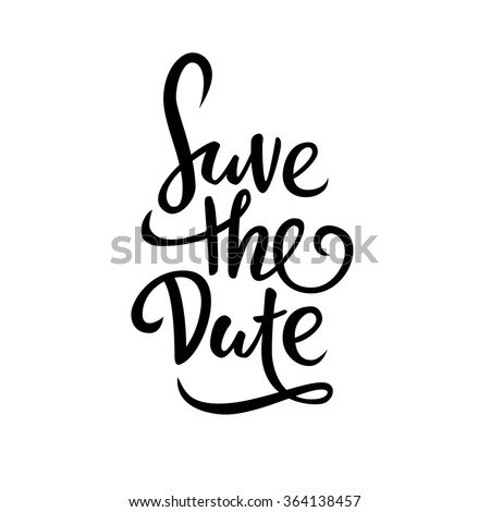 Save the date. lettering - stock vector