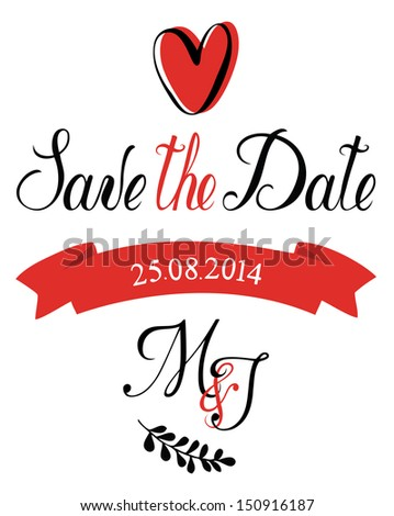 Save the Date M&J - stock vector