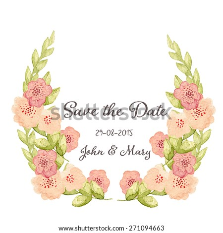 Save The Date or Wedding Invitation, Hand drawn wreath with ranunculus flowers eps10  - stock vector