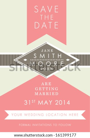 Save the date Pink and Brown style invitation - stock vector