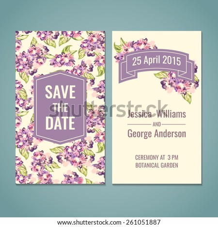 Save the date, shower, wedding, greeting card template. Watercolor vector illustration. - stock vector