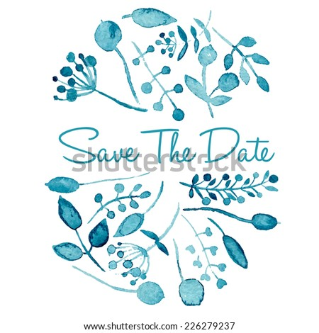 Save the date template. Hand drawn watercolor painting. Eps10 - stock vector