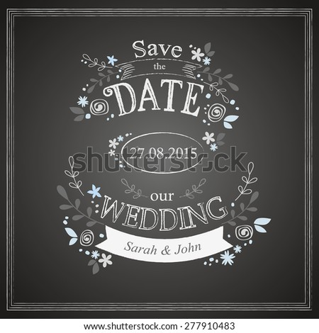 Save the date wedding card template  - stock vector