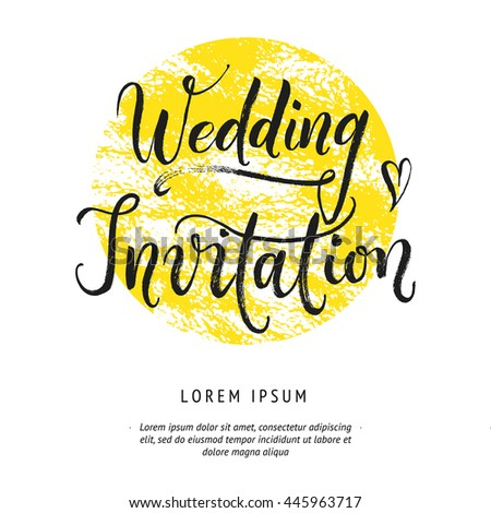 Save the Date Wedding Hand drawn with brush, Hand lettered with brush pen abstract card. Bride and groom invite guest to the party. Cute hearts - stock vector