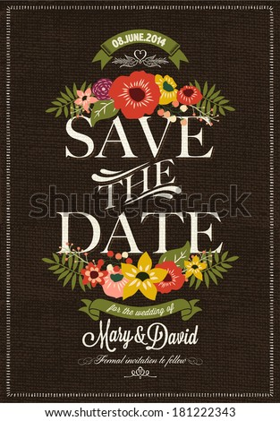 Save The Date, Wedding Invitation Card - stock vector