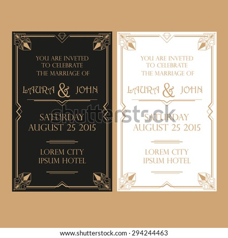 Save the Date - Wedding Invitation Card - Art Deco Vintage Style - stock vector
