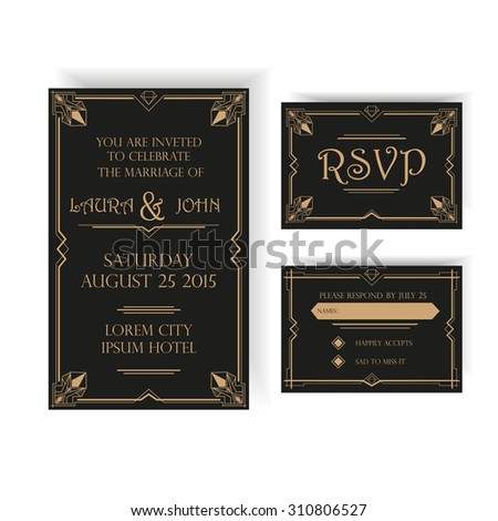Save the Date - Wedding Invitation Card - RSVP - Art Deco Vintage Style - stock vector