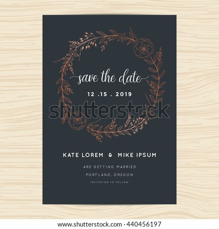 Save the date, wedding invitation card template with copper color flower wreath. Vector illustration. - stock vector