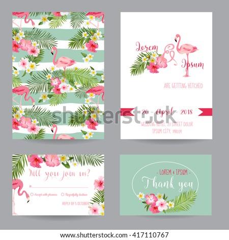 Save the Date - Wedding Invitation or Congratulation Card Set - Tropical Flamingo Theme - in vector - stock vector