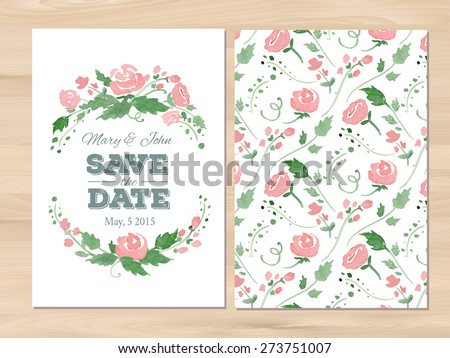 Save the date wedding invitation with watercolor flowers and typographic elements. Seamless illustrator swatch for back side included. Free fonts used: Nexa Rust, Alex Brush, Crimson - stock vector