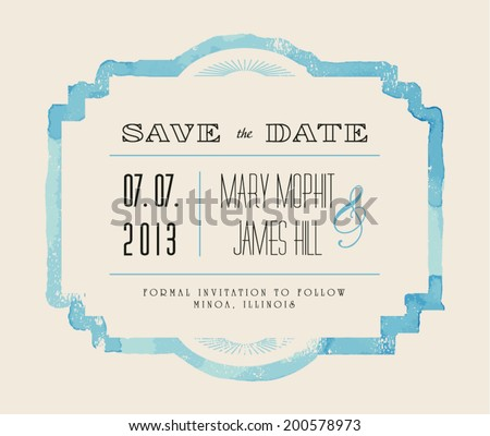 Save the date with watercolor frame. Retro style hand drawn ornament. Vector illustration - stock vector