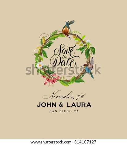 Save the Date Wreath Design - stock vector
