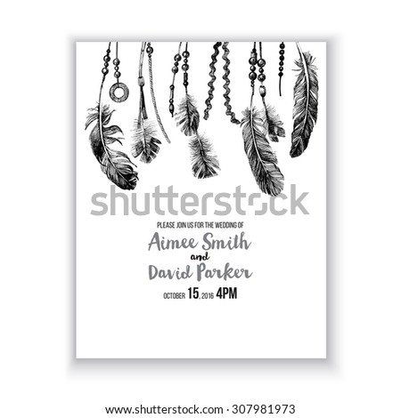 Save the day card with hand drawn feathers on white background - stock vector