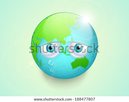 Save the earth concept, Illustration of mother earth with sad eyes on green background for world environment day. - stock vector