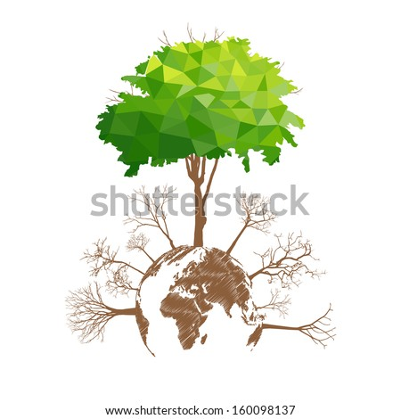 Save the earth, Dry tree on globe. Vector illustration - stock vector