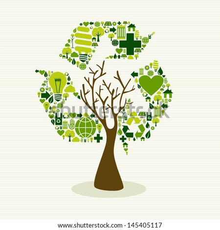 Save the Earth tree idea with icons set. This illustration is layered for easy manipulation and custom coloring - stock vector