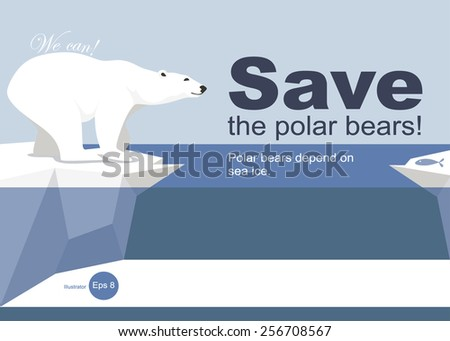 Save the polar bears - stock vector