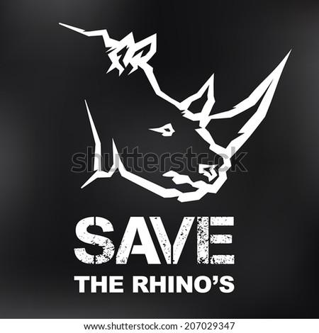 Save the Rhino's Icon Design - stock vector