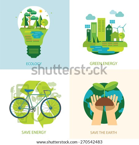 save the world and clean energy concept - stock vector