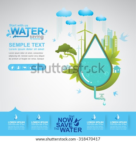 Save Water Concept - stock vector