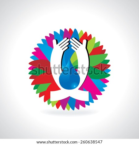 save water concept with hand illustration - stock vector