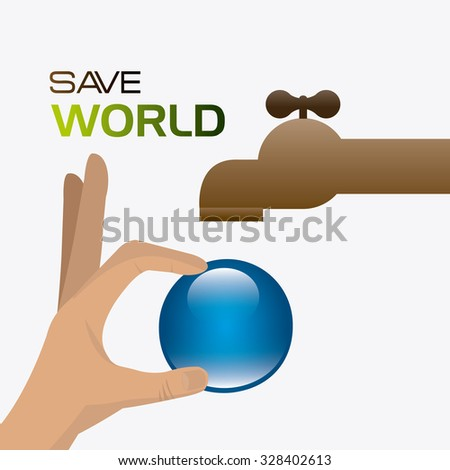 Save water ecology theme design, vector illustration - stock vector