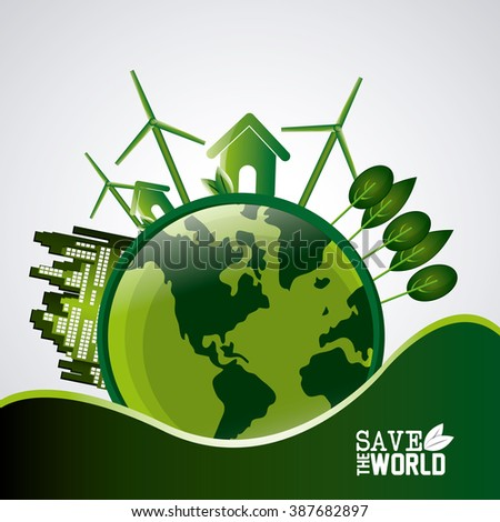 Save world design  - stock vector
