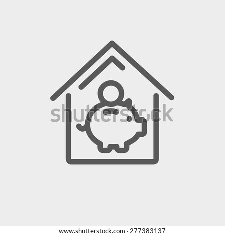 Saving icon thin line for web and mobile, modern minimalistic flat design. Vector dark grey icon on light grey background. - stock vector