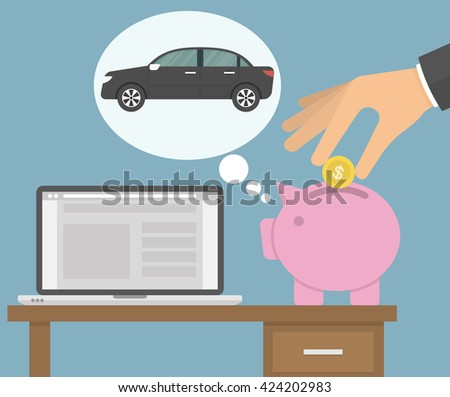 Saving money for a new car concept. Piggy bank dreaming about a car while a hand putting golden coin in the bank. Flat style - stock vector