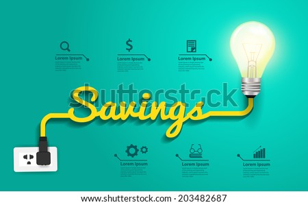 Savings concept, Creative light bulb idea abstract infographic layout, diagram, step up options, Vector illustration modern design template - stock vector