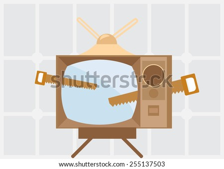 saw cutting retro tv  - stock vector