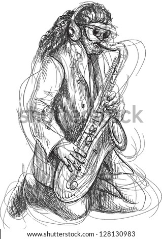 Saxophone player in expressive outlines. /// Vector description: contours in shades of gray and black, editable in 4 layers. - stock vector