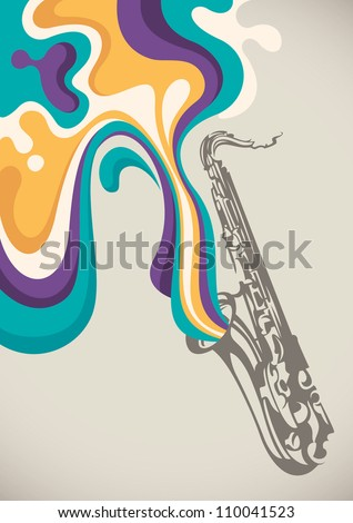 Saxophone with liquid abstraction. Vector illustration. - stock vector
